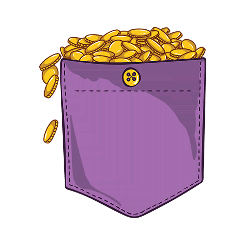 Golden coins pocket